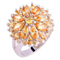 Wholesale Round Cut Morganite 925 Silver Ring Size 7 8 9 10 11 12 13 Women