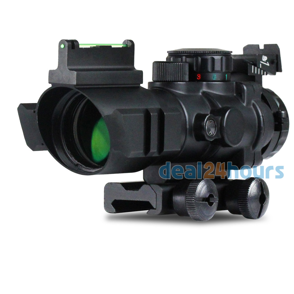 Tactical 4x32 RGB Tri-Illuminated Combo Compact Scope Fiber Optics Red Sight Free shipping hunting riflescope tactical 3 5x30 rgb laser sight dot red tri illuminated combo compact scope fiber optics green sight