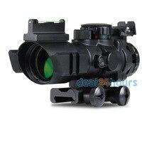 Tactical 4x32 RGB Tri Illuminated Combo Compact Scope Fiber Optics Red Sight Free shipping