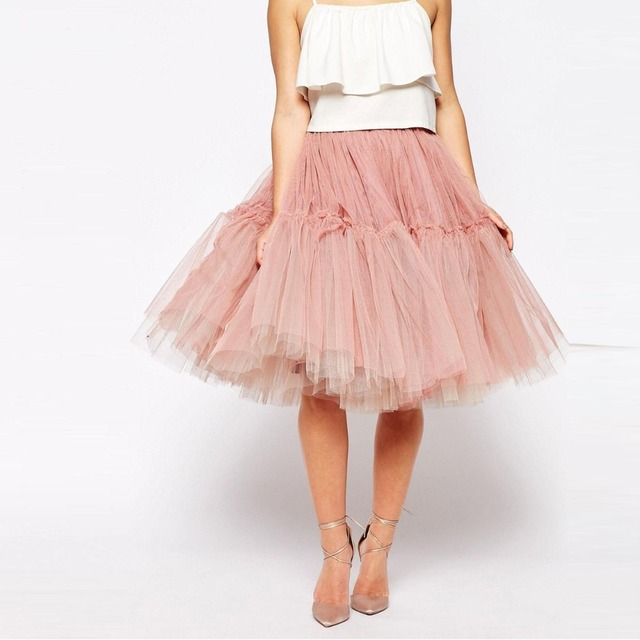 9cc681b4fcb Sweet Blush Powder Pink Tulle Skirts Girls Midi Soft Tulle Skirt Women  Adult Tutu Skirts Knee Length Bottom Custom Made Saias