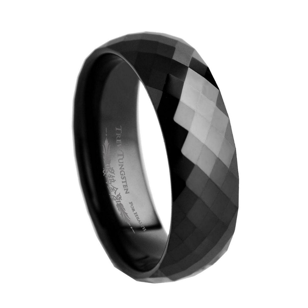 Width - 6mm US Size 7/7.5/8/8.5/9/9.5/10/10.5/11/12 Tungsten Ring 288 DiamondFaceted Style Men's Black Tungsten wedding Band