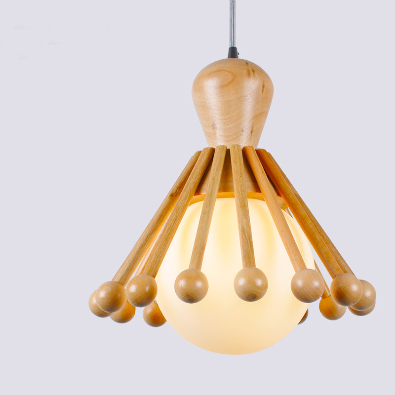 Wood ball creative pendant light,Mediterranean style restaurant cafe bar hanging lamp,Modern wood lamp for bedroom balcony aisle