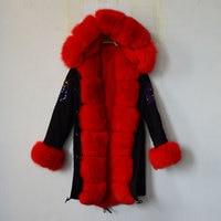 2017 TOP UK Flag Bright Red Color Russia Fur Coat Biggest Real Fox Collar, Hoodies,Cuffs Black MR MRS Jacket