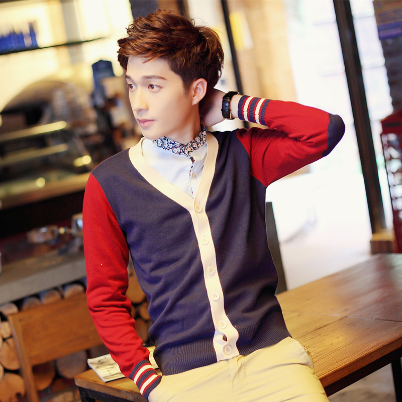 100% Cotton Knit Cardigan Men's 2018 Autumn Winter New Coloured V Neck Thin Long sleeve Sweater Cotton Hit color 161