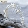Gorgeous flower Crown novia Girl crystal Tiara pearl jewelry gold color hairwear prom party headpiece bride wedding accessories