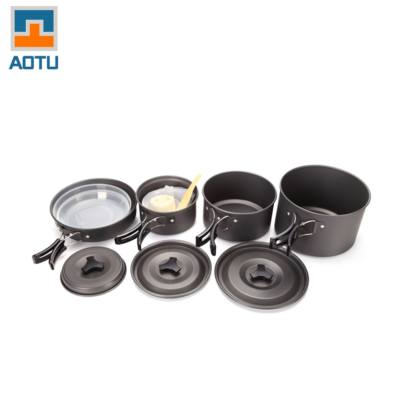 Фото AOTU New Free Shipping Stainless Steel Cubiertos Hiking Camping Pots Picnic Set Cookware Outdoor Pot Camping Cooking Set Cutlery
