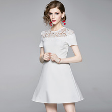 Summer Dress Woman 2019 New Round Neck Patchwork Hollow Out Embroidered Lace Solid Color Short Sleeve Slim Dress Above The Knees стоимость