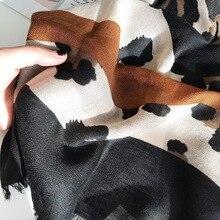 2019 Winter Leopard Pattern Khaki Striped Viscose Shawl Scarf Lady Print Hijabs