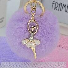 Ballerina Girl Beauty 8CM Fluffy Real Rabbit Fur Ball Pompon Pom Keychain Car Key Chain Keyring Decoration For Purse Bag