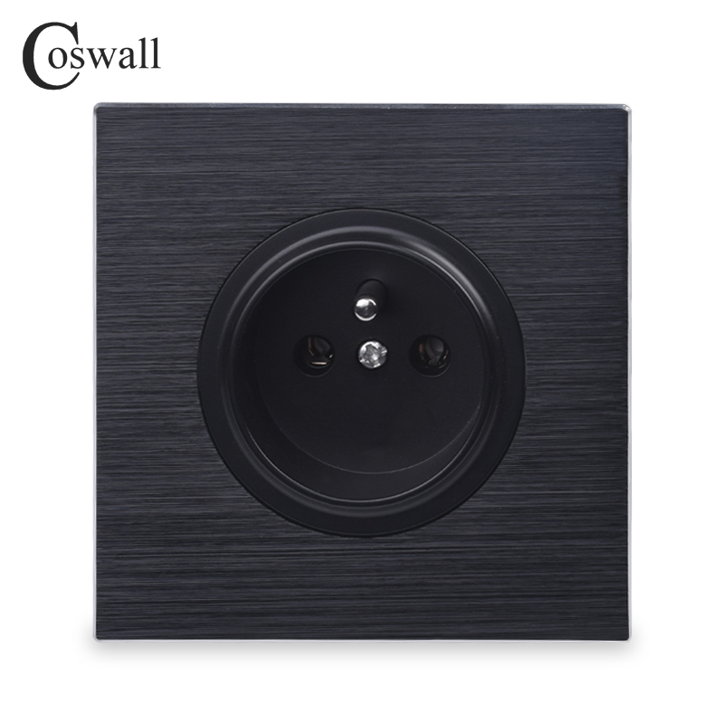 Coswall Luxurious Black Aluminum Panel 16A French Standard Wall Power Socket Outlet Grounded With Child Protective Lock