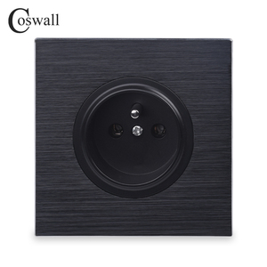 Coswall Luxurious Black Aluminum Panel 16A French Standard Wall Power Socket Outlet Grounded With Child Protective Lock()