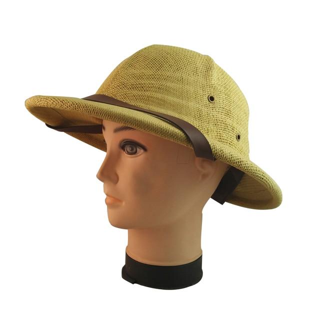 ba7f37ba0288f Hamiotwo Summer straw sun hat bucket hat Helmet Toyo Pith Safari Jungle Hat  With Sweatband for Miners Cap