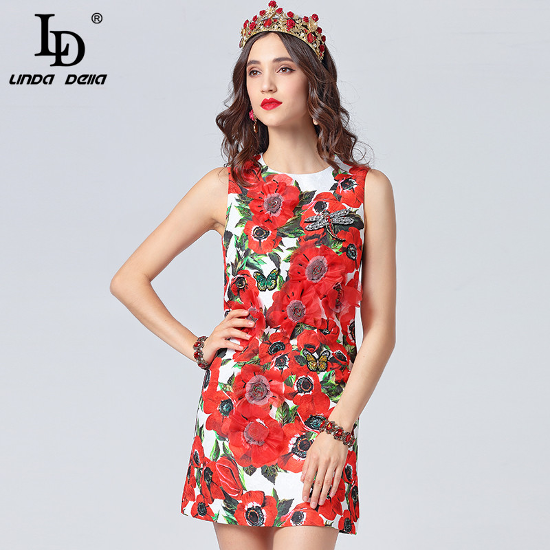 b8fbb5769534 Floreale Vestito Linda Corto Elegante Appliques Maniche 2019 Stampa Modo Di  Della Del Abito Donne Vestido Ld Multi Rosso Armato Estate Delle Progettista  ...