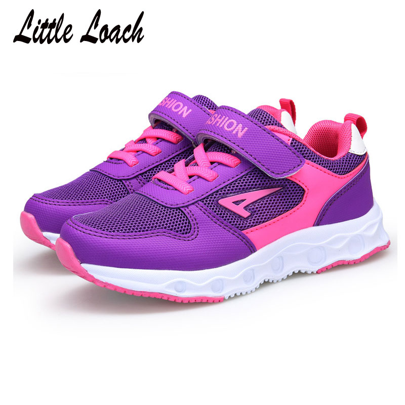 Spring Kids Casual Shoes Boys Girls Mesh Sports Sneakers Black Rose Purple Size 28-38 Summer Children Running Tennis Trainers
