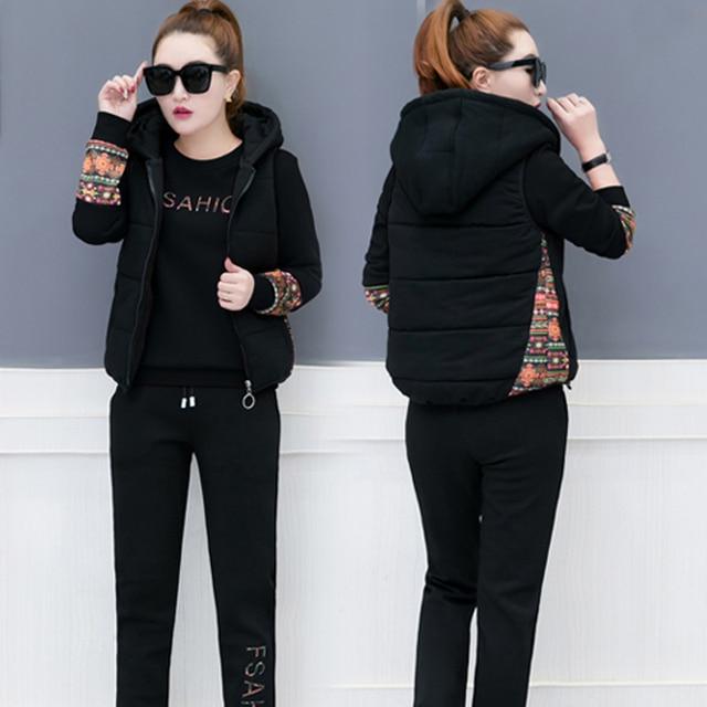 a8de57d33bc Black velvet tracksuit women 3 piece set pants suits top vest 2 piece outfits  hooded warm thick winter plus size large clothes