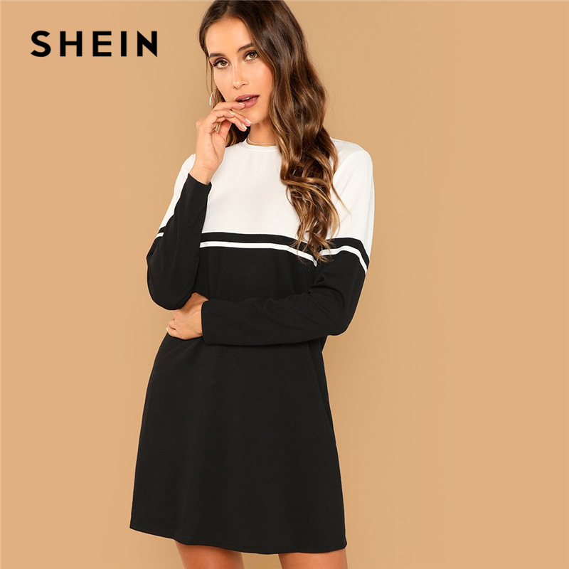 SHEIN Black And White Elegant Color Block Round Neck Long Sleeve Natural Waist Dress 2018 Autumn Casual Fashion Women Dresses