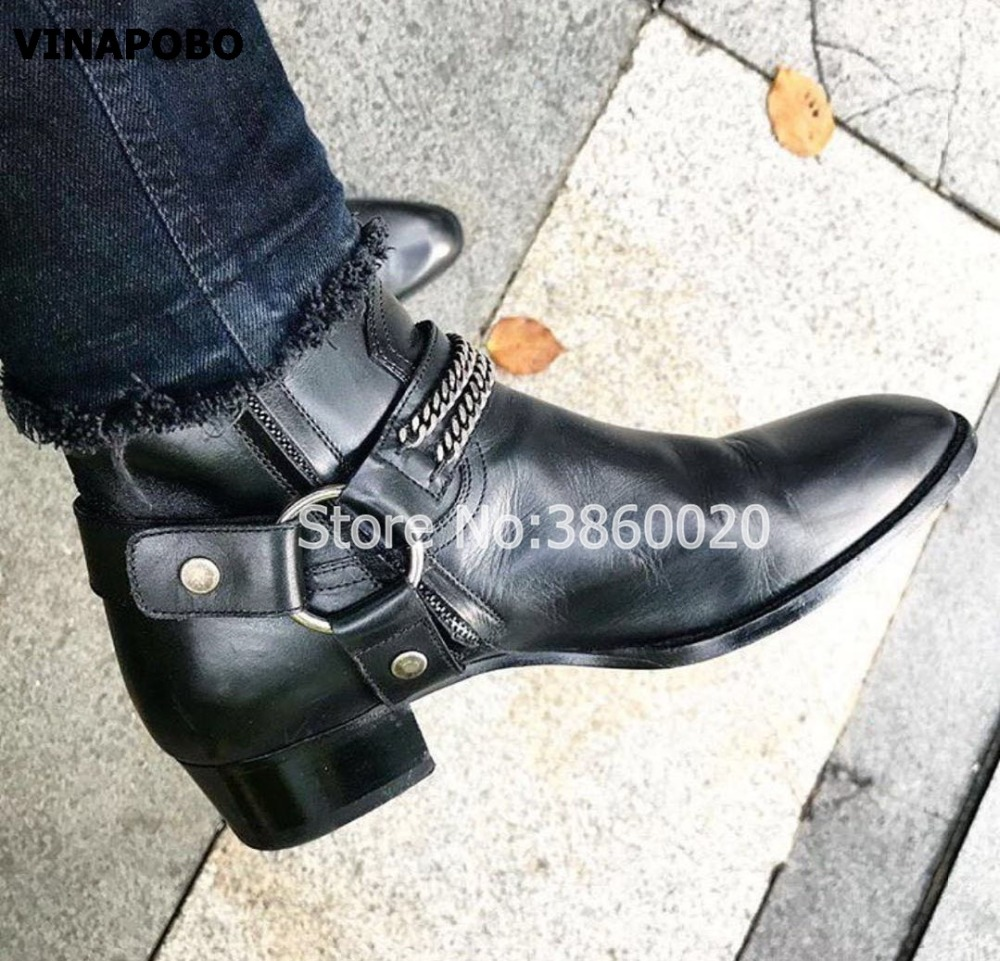 2018 VINAPOBO Black Genuine Leather Buckle Strap Chains Men flat Chelsea Boots Elastic band Pactchwork Ankle Shoes Luxury Brand