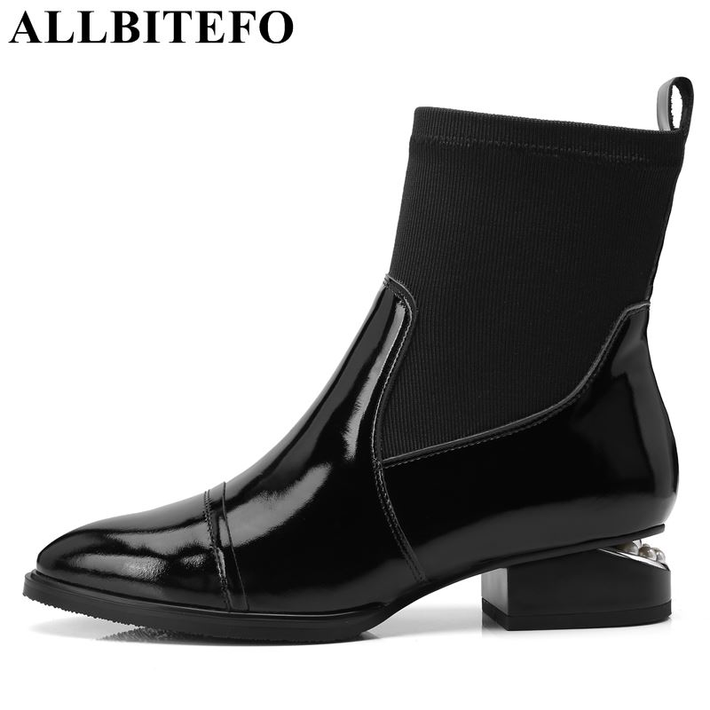 ALLBITEFO new fashion brand genuine leather thick heel women boots high heels ankle boots women winter martin boots bota de neve стоимость
