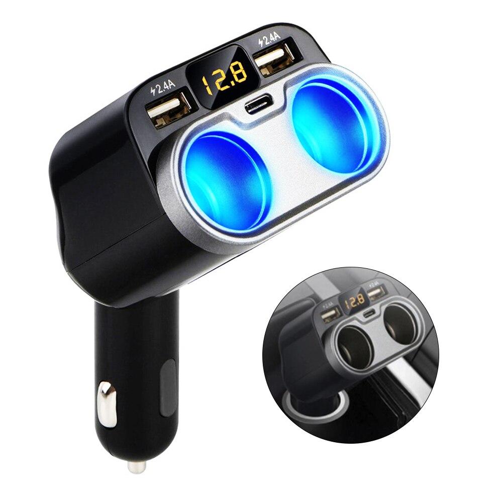 12-24V Dual USB Car Charger Cigarette Lighter Socket Splitter Plug with Car Battery Voltage Detection Function For Truck SUV
