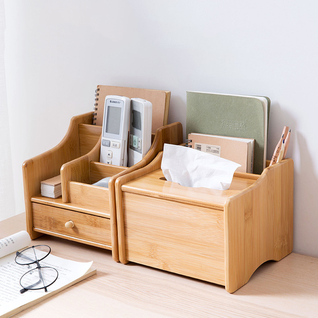 Bamboo Desktop Remote Control Storage Bo On The Table Tissue Box Living Room Coffee Cosmetics