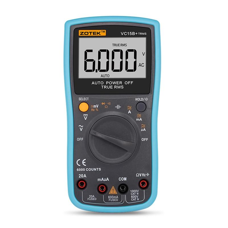 Digital Multimeter True RMS measuremen Autoranging 6000 Counts Large LCD Display Low Voltage AC DC ohm Measurement Tool VC15B+