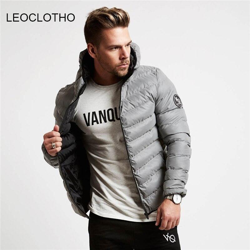 LEOCLOTHO Slim Fit   Down     Coats   Men Hooded Jacket Thick Parka Casual   Coat   Men Streetwear Tops Winter Overcoats Sportswear Men