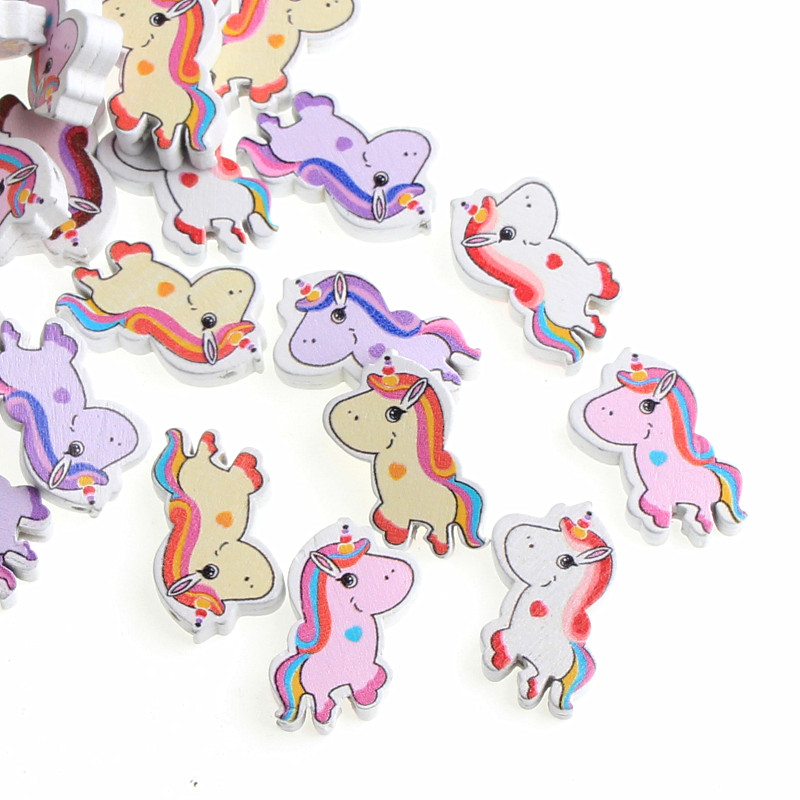 Fast Deliver Diy White Wood Beads 20pcs 31x21mm Multicolor Unicorn Wooden Beads For Jewelry Making Handmade Baby Rattle Pacifier Clip Orders Are Welcome.