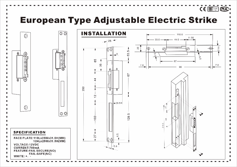 Купить с кэшбэком DWE CC RF Locks 12v rf narrow door european type fail secure electronic door lock strike no type