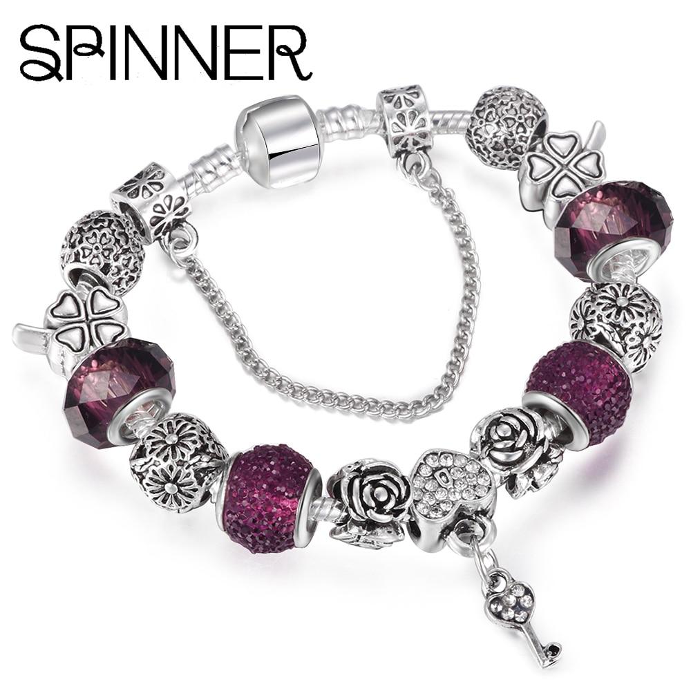 Spinner Kjæreste stil vintage hjerte og nøkkel dangle sjarm armbånd kvinner slange kjede Brand armbånd smykker