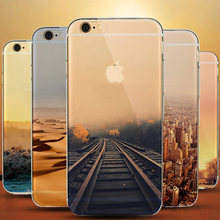 Soft Clear Landscape Cover for Coque iPhone 5 5s 6 s 6s 7 Case Deer Snow Mount Empire Building Paris London for iPhone Silicone(China)