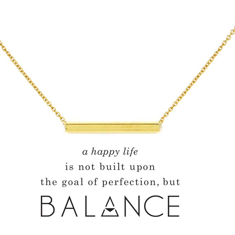 Simple Everyday Elegant Balance Tube Bar Collar Necklace Women Fashion Jewelry Gifts for Mom or Girlfriend with Wish Card image