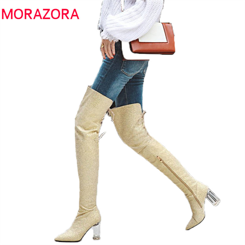 MORAZORA 2018 new fashion over the knee boots women pointed toe autumn winter boots lace up thigh high boots prom shoes woman цена 2017