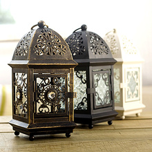 Moroccan style iron craft candlestick creative retro European candle holders festival ornament marriage decor fit block candle