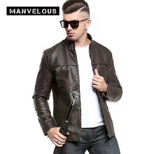 Manvelous PU Jacket Men Fashion Casual Slim Washed Thick Solid Stand Collar Leather Jackets Black Color Mens Suede Jackets Coats