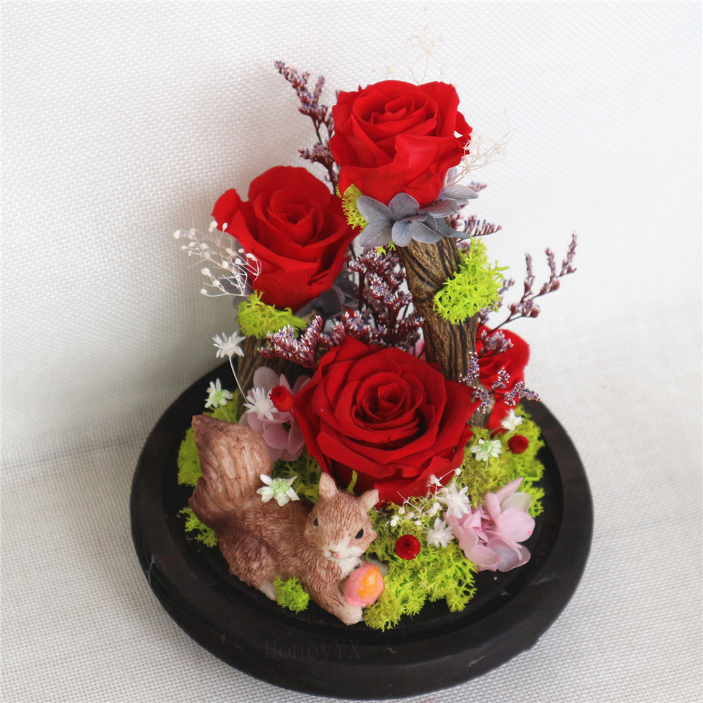 Red Rose Cute Artificial Squirrel Preserved Rose Forever Rose Enchanted Flowers In Glass Dome Fathers' Day Gift
