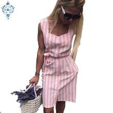 Ameision 2019 Women Summer Square collar sleeveless Button stripe shirt dress mini Straight casual Elegant Party Dresses
