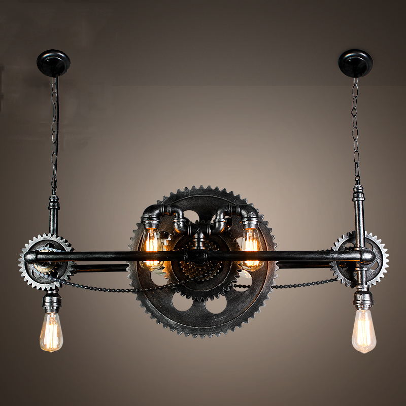 vintage iron water pipe wood gear pendant light retro loft industrial style suspension edison. Black Bedroom Furniture Sets. Home Design Ideas
