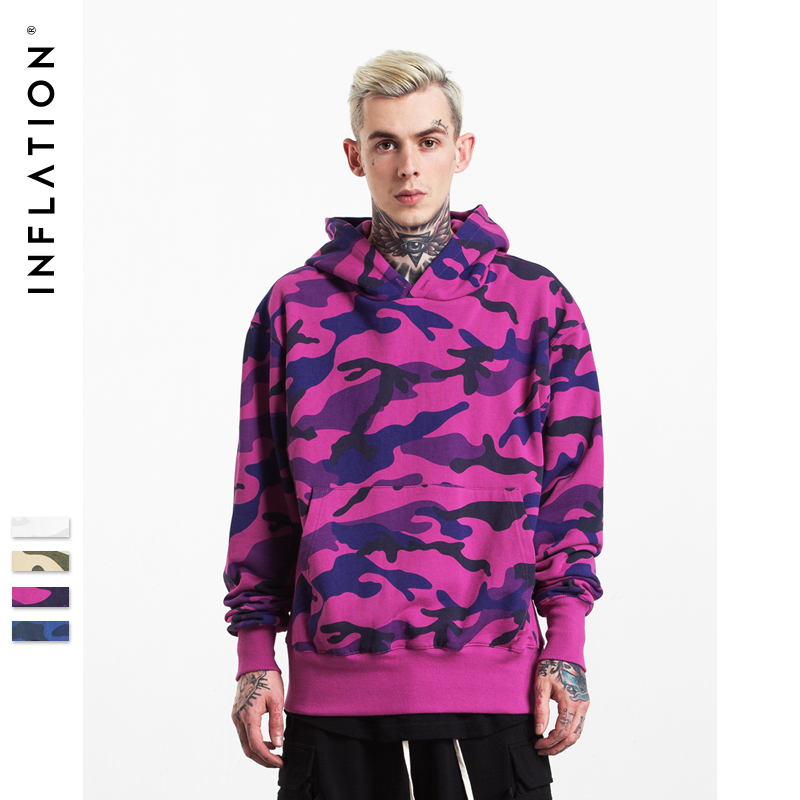 INFLATION Winter New Collection Men Hoodies Thick Velvet Fabrics Streetwear Hip Hop Camouflage Winter Hoodies 152W17