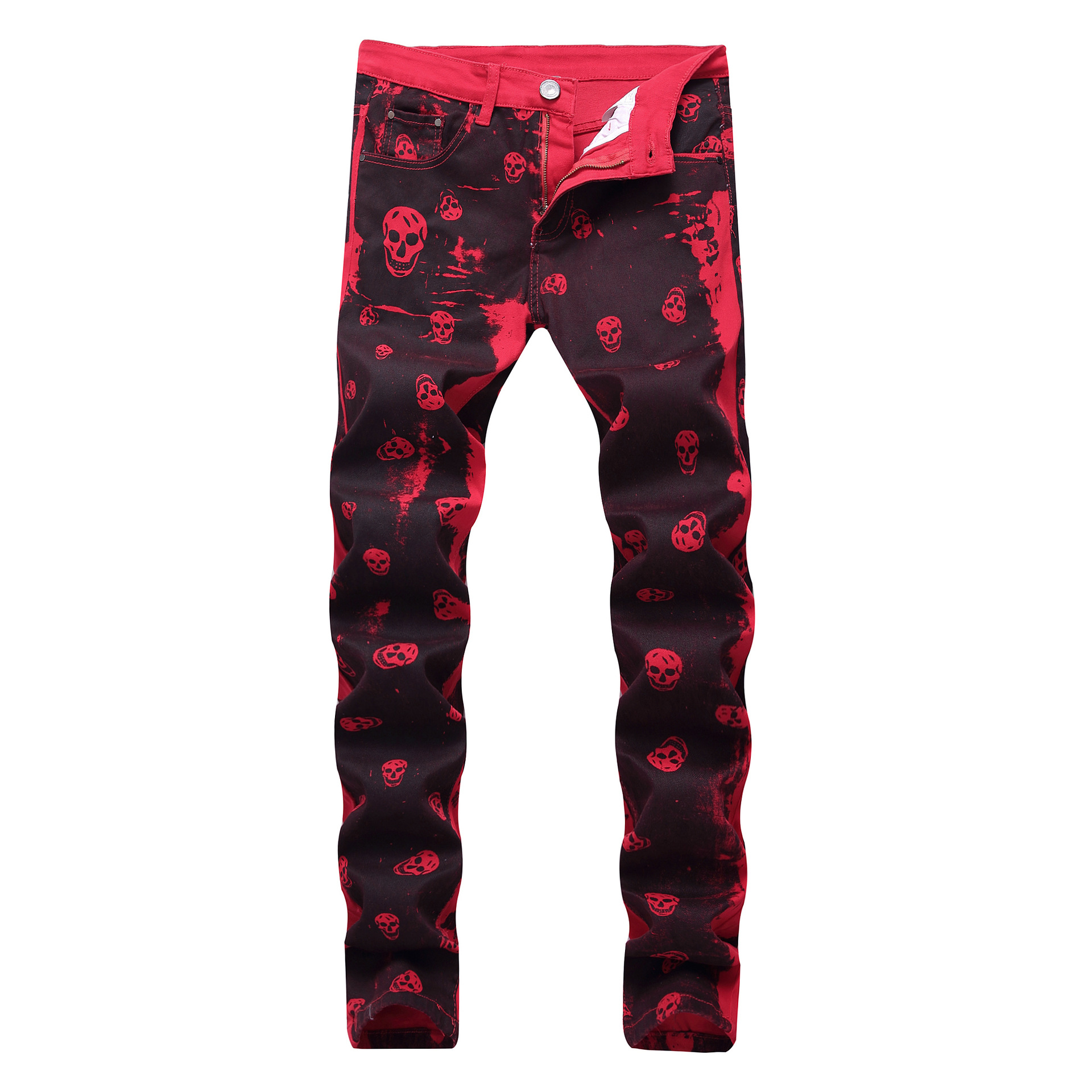 2019 New Arrival Hot Sale Pattern Full Length Plaid Slim Men Jeans Cross Printed Red Cotton Elastic Amazon Style Trousers Light