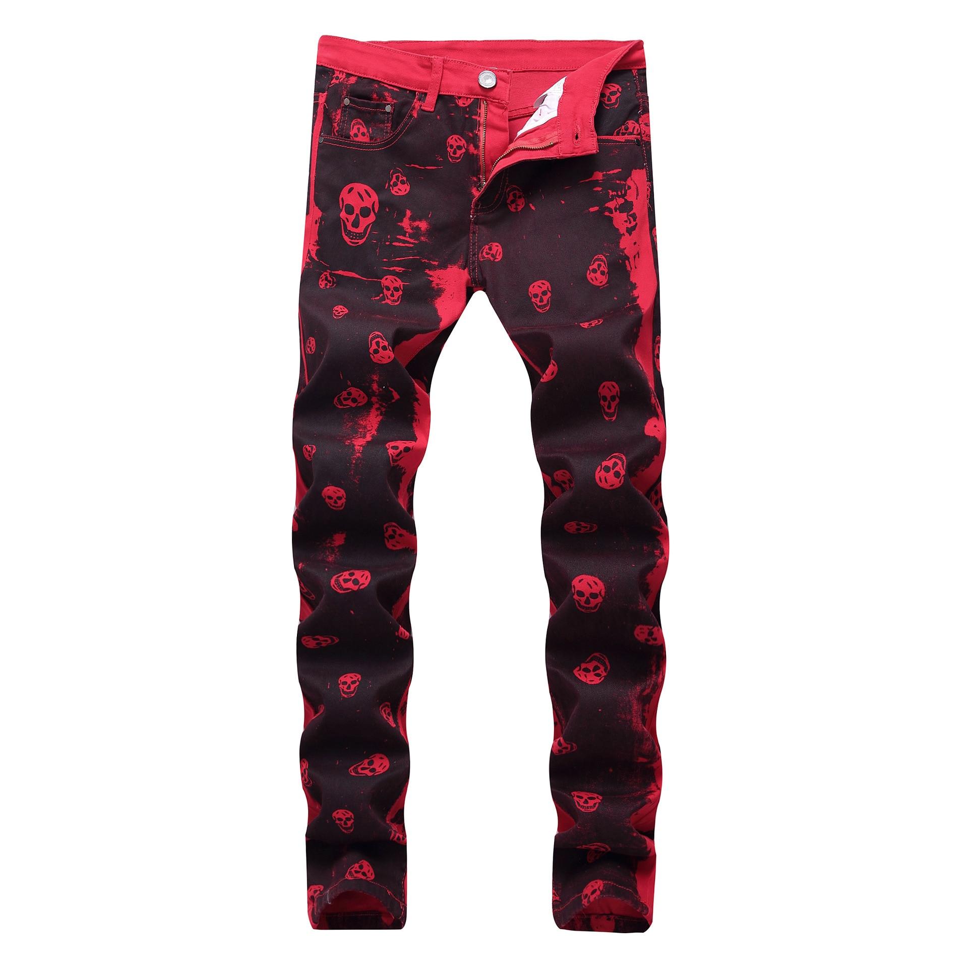 Lightweight Full Length Plaid Slim Medium Men Jeans Cross Printed Red Cotton Elastic Amazon Style Men's Trousers 2018 New