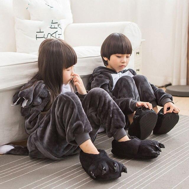0616d1e64 NEW Kigurumi Pajamas Children Animal Big Wolf Costume Winter Flannel ...