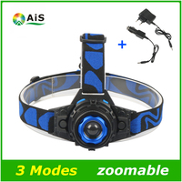 LED Headlamp Cree Q5 Waterproof High Brightness Built In Lithium Battery Rechargeable Zoomable Headlight Charger 3