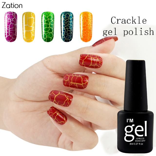 Zation Crackle Gel Crack Nail Polish Cracking Nail Lacquer Varnish ...
