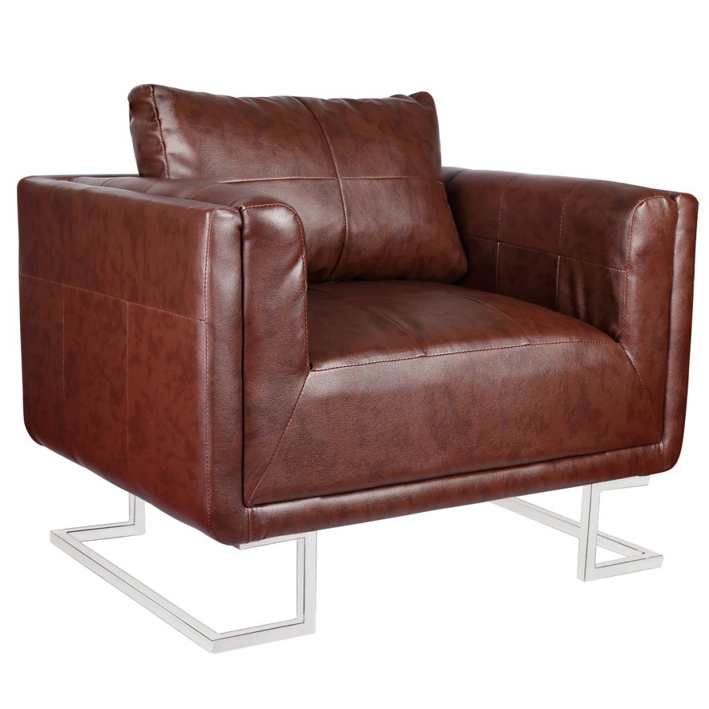Wondrous Us 200 66 25 Off Ikayaa Brown Luxurious Leather Cube Chair With Chromed Legs Chair For Living Room Es Stock In Living Room Chairs From Furniture On Creativecarmelina Interior Chair Design Creativecarmelinacom