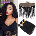 Lace Frontal With Bundles Mongolian Kinky Curly Hair With Closure Best Quality Kinky Curly Weave Lace Frontals With Baby Hair