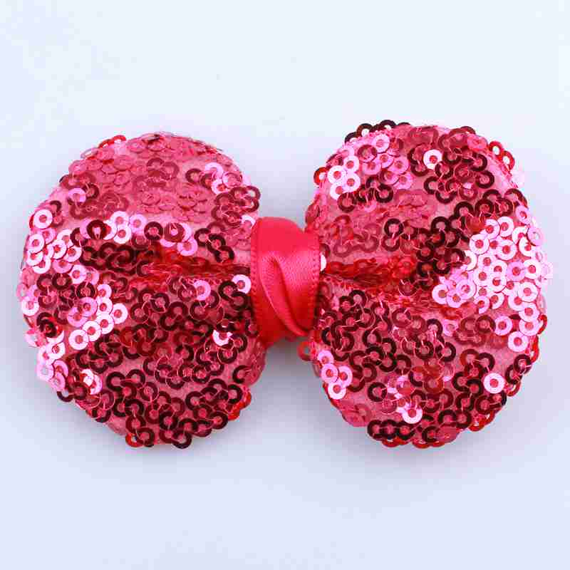 10PCS 7.8CM New Sparkling Sequin Hair Bows For Hair Ties