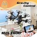 Minitudou Juguete del Control de Radio de Control de la Gravedad Droner MJX 4CH 6 Axis X800 con C4005 C4010 FPV Cámara VS X600 X101 Aviones RC Dron