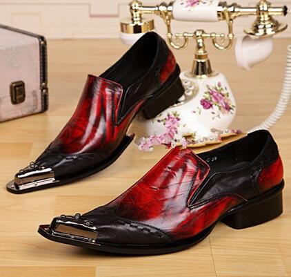 Men Fashion Casual Shoes Flats Loafers Metal Pointed Toe Slip-On Patent Leather Mixed Colors Spring Autumn Wholesale Men Shoes