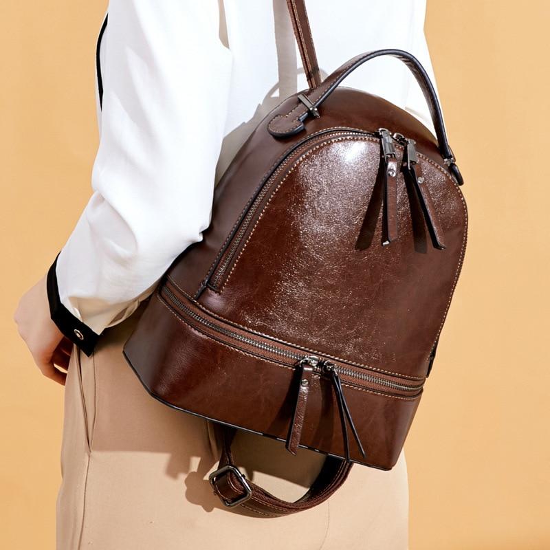 High Quality Women Oil Wax Cowhide Backpack Travel Knapsack Fashion Casual Design Genuine Leather Rucksack Girls School Daypack