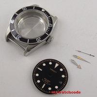 41 Mm Zwart Bezel Saffier Glas Horloge Case & Dial & Hand Fit 2824 2836 Beweging